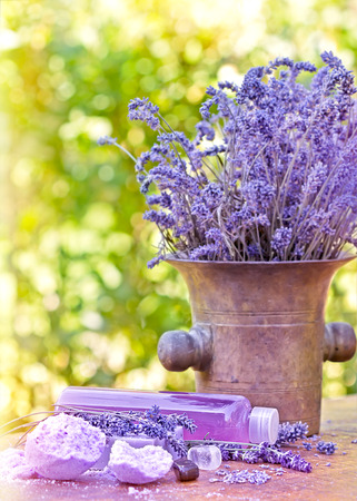 lavender oil: Lavender oil and lavender soap (Spa concept -Spa treatment)