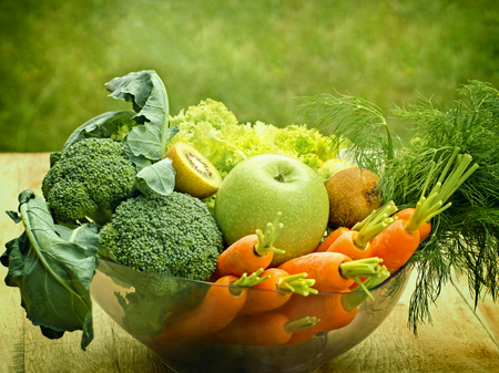 healthy nutrition: Organic fruits and vegetables  - Ingredients for green smoothie Stock Photo