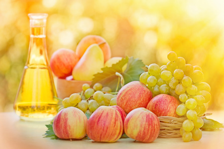 green apples: Colorful apples, white grapes and white wine