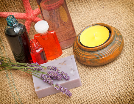 lavender oil: Spa treatment with lavender soap and lavender oil