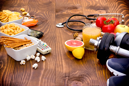 bad habits: The concept of good and bad habits - healthy and unhealthy lifestyle Stock Photo