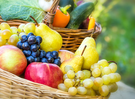 seasonal: Organic seasonal fruits closeup