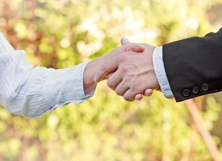 woman handle success: Business handshake - concept