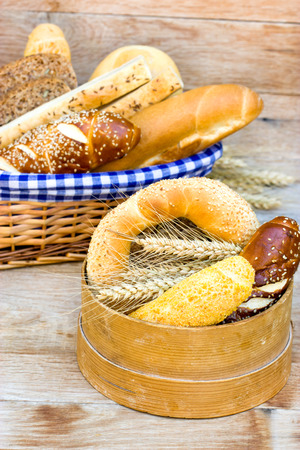 whole grains: Pastries and breads made with whole grains Stock Photo