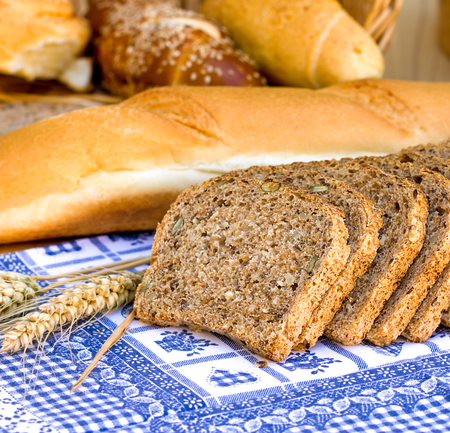 whole grains: Wholemeal bread with whole grains  - Pastries and breads