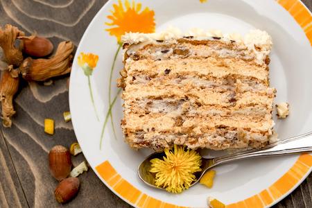 chocolaty: Delicious Hazelnut cake on plate - sweet pleasure