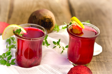 beet juice: Healthy drink - beet juice in glass on table close up