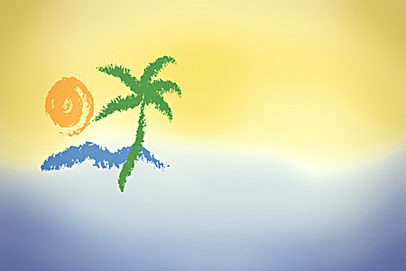 open sea: Island, sea, sun, peace, quiet is choice for your summer vacation - illustration Stock Photo