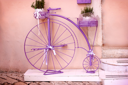 outmoded: Rustic - vintage, outmoded purple bicycle (lavender colored bike)