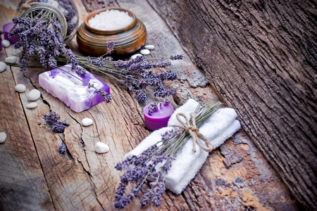 spa stones: Spa treatment - lavender soap, scented salt and spa stones