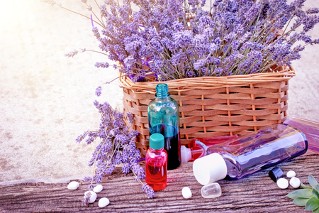 lavender oil: Essential Lavender oil, lavender oil and spa stones - healthy life style for relaxation
