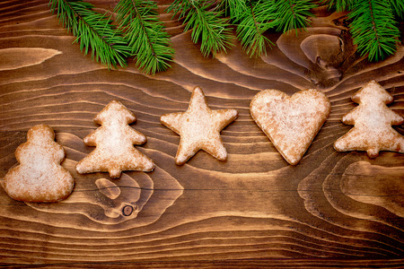 figurine: Christmas cookies on rustic wooden table in Christmas night