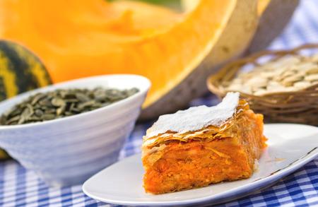 Pumpkin pie - pumpkin cake and pumpkin seeds Stock Photo