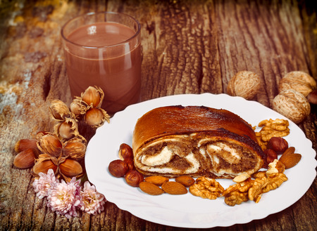 walnut cake: Walnut cake and chocolate milk - delicious meal for your pleasure