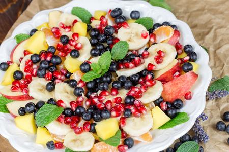 freshly prepared: Healthy vegetarian food - freshly prepared healthy meal (fruit salad)