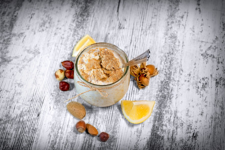 oatmeal: Oatmeal and cornflakes - healthy meal for each who care about healthy eating (healthy diet) and own health