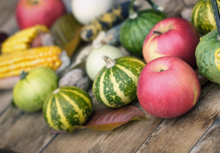 Thanksgiving - Harvest on a table, apple, corn and pumpkin Stock Photo