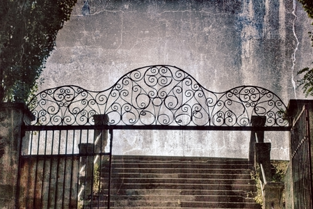 Illustration of old iron, rustic gates and stairs (staircase)