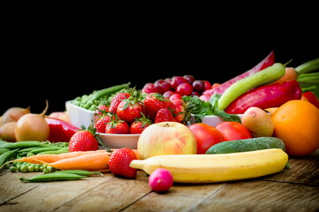 Healthy eating, healthy organic fruit and vegetable on table