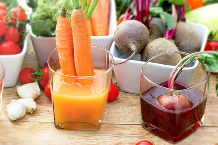Carrot and beet juice, healthy antioxidant juice made with organic vegetable