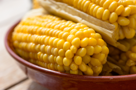 Healthy eating, healthy food, cooked organic sweetcorn - homemade cooked corn Stock Photo