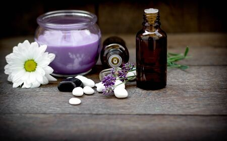 Essential lavender oil and spa stones - healthy lifestyle for relaxation