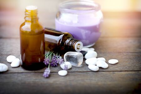 Healthy lifestyle for relaxation, using essential lavender oil in treatment, massage and therapy Фото со стока