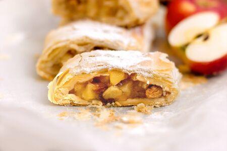 Apple strudel close up, delicious delicacy - fruitcake