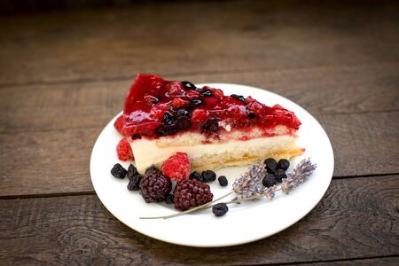 Cremy cake made with forest fruits - various forest berries