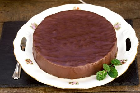 Creamy chocolate cake with apricot jam on plate Stock Photo