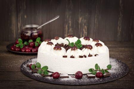 Creamy cake with whipped cream, sour cherry and dark chocolate - Schwarzwald cake