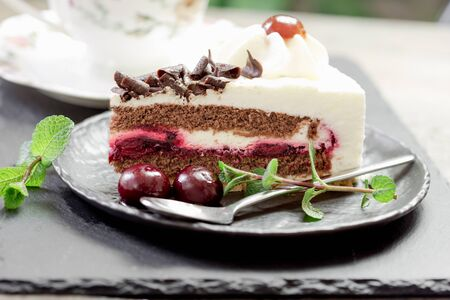 Delicious fruit cake with sour cherry, dark chocolate and whipped cream, slice of Black forest cake close up Stock Photo