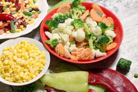 Frozen vegetables, quick-frozen vegetables in healthy diet, in healthy eating, vegetarian and vegan food
