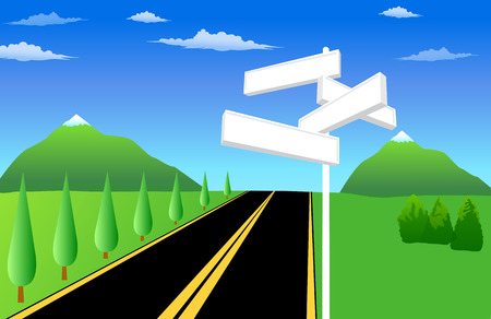 different directions: drawn landscape with road and direction signs Illustration