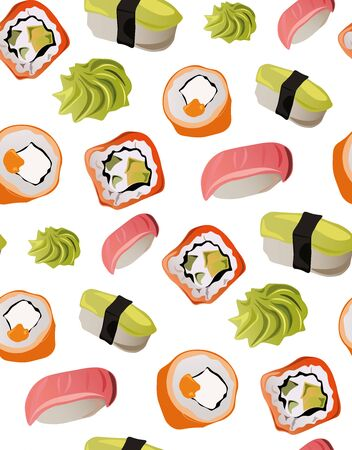 Seamless sushi pattern with wasabi and fish 일러스트