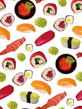 Seamless sushi pattern with wasabi and salmon