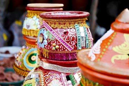 Festival of Maha Laxmi Navratri Garba Kalash Matka Decoration,Poona,Maharashtra,India