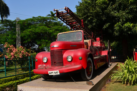 oldstyle: Oldstyle red fire engineIndia