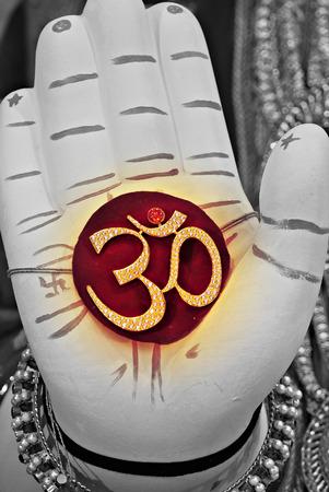 ganapati: CloseUp Of Palm Of Lord Ganesh Idol With Holy Sign Om Ganapati PoonaMahrshtraIndia