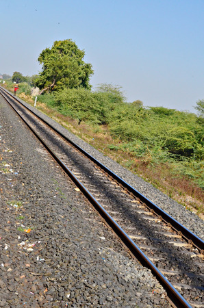 diversion: Meter gauge railway trackGujratIndia Stock Photo