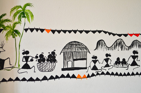 femal: Warli hand made painting