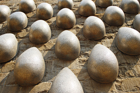 represents: Steel sculpture represents Water Drops on Stone Wall, Lavasa, Maharashtra