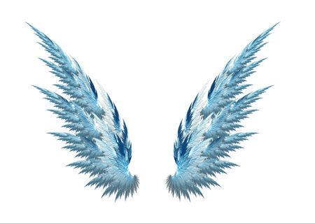 Blue angel wings made with fractal design, white background Stock Photo