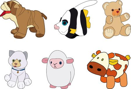 Puppies for children.  Dog, fish, bear, cat, sheep and cow photo