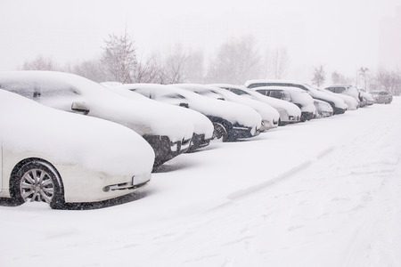 snowcovered: Snow-covered cars during a snowfall
