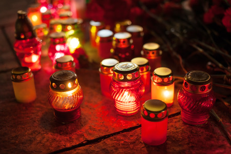 maidan: Yahrzeit candles at the Independence Square in Kiev. Ukraine Stock Photo