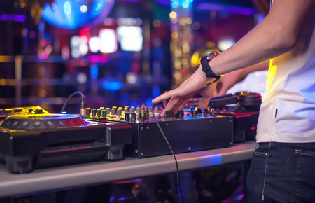 dj music: Mixing Console at the night club