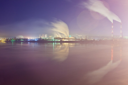 right bank: The right bank of the Dnieper River with views of the industrial zone. Kiev
