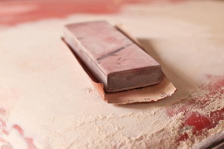refurbish: Wooden shoe for a car repair Stock Photo