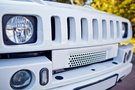 grille': Radiator grille white SUV car